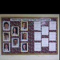Match the Teacher to their Favorite Book bulletin board Did this Oct. Very popular, submission folder disappeared from board, but will do again and draw winners for a small prize Reading Display, Reading Library, Reading Bulletin Boards, Bulletin Board Display, Middle School Libraries, Middle School Reading, School Displays, Library Displays, Read A Thon