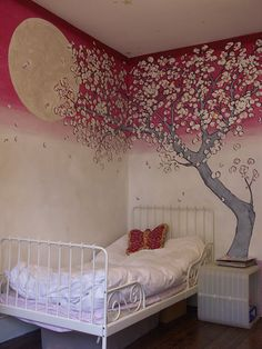 Very unique painting of a Cherry Blossom tree mural - Painting Techniques My New Room, My Room, Girl Room, Girls Bedroom, Tree Bedroom, Bedrooms, Mural Painting, Mural Art, Wall Murals