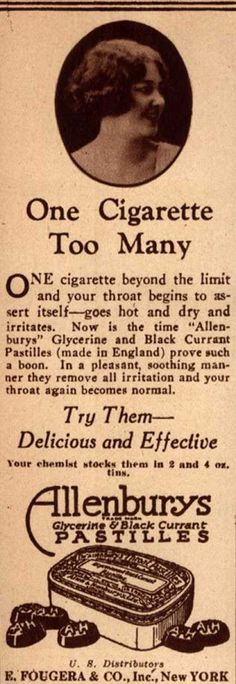 You could also try not smoking. Betcha your throat won't be burning anymore. Vintage Medicine Ads of the 1920s