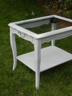 glass top bedside table