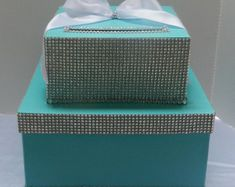 Royal Blue Wedding Cake Card Box Bling Ribbon by SweetJonesin