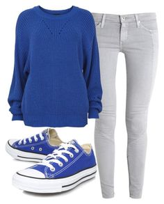Blue and Grey by mailu-italiano on Polyvore featuring VILA, AG Adriano Goldschmied and Converse