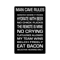 From the Keg Works licensed collection, this Man Cave Rules metal sign measures…