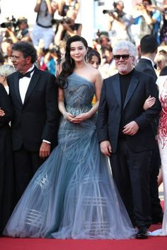 Members of the Feature Film jury Gabriel Yared Fan Bingbing and President of the jury Pedro Almodovar attend the Closing Ceremony of the 70th annual...