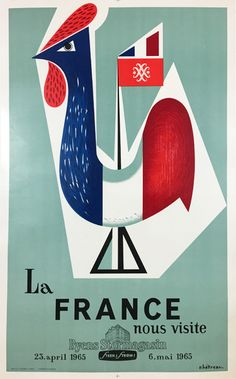 La France nous visite original vintage travel poster by R. Hetreau from 1965 France.French Products promoted in Major shopping District in Oslo norway Salvador Dali, Maurice Utrillo, Poster Ads, France, Vintage Travel Posters, Norway, Playing Cards, The Originals, Illustration