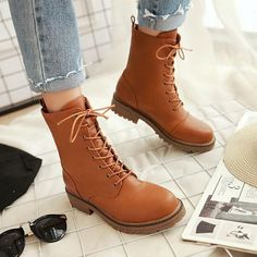 9ee764b619e1 Autumn Winter Women Round Handmade Black brown Lace Up high Top Boots  plus10.5