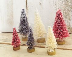 Americana * Bottle Brush Trees * Muted Red, White and Blue * Patriotic Inspired *  Mercury Glass Flocked Putz Trees * 4th of July * Bottle Brush Trees * DIY Vintage Putz Glitter House * Village Inspiration!