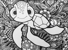Finding Nemo Tangle Design by byjamierose Finding Nemo Coloring Pages, Disney Coloring Pages, Animal Coloring Pages, Coloring Book Pages, Coloring Sheets, Mandalas Painting, Mandala Art, Colorful Drawings, Colorful Pictures