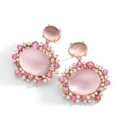 Earrings in 18k rose gold with round diamonds, rose quartz and pink tourmaline.