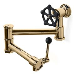 Regulator Wall Mounted Pot Filler in Unlacquered Brass with Matte Black Wheel and Lever Handles