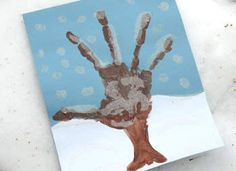 Winter tree handprint picture. made these last year, so cute!
