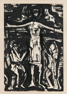Evie Hone HRHA (1894-1955)Crucifixion (Kilkenny Rubbings) Ink and watercolour on paper, 27 x 17.5cm (10½ x 6¾'') Signed on mount Provenance: Presented to Sr Macbh Ní Chlerigh O.P. on the occasion of her Golden Jubilee as a member of the Dominica