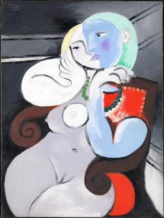 *** Picasso, Nude Woman in a Red Armchair. Oil on canvas. A portrait Picasso made of Marie-Thérèse Walter at Boisgeloup. Pablo Picasso, Kunst Picasso, Art Picasso, Picasso Paintings, Picasso Sketches, Henri Matisse, Portrait Picasso, Photos Panoramiques, Red Armchair