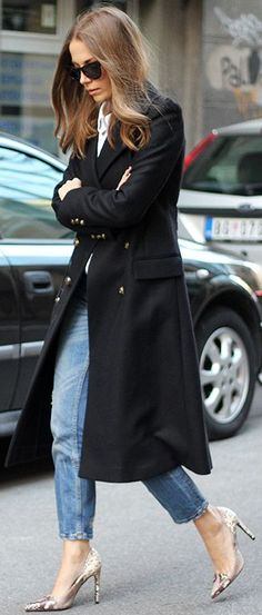 Black Maxi Coat Fall Street Style Inspo by Fashion And Style