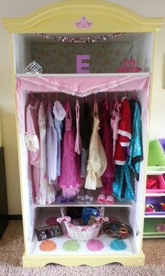 Chloes New Dress Up Corner Made Out Of An Old Book Shelf I Got For 10 Less Then 20 To Make All Together Shes A Very Happy Baby Princess Dre