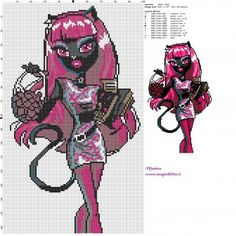 Schema punto croce Catty Noir (Monster High) 100x164 11 colori.jpg