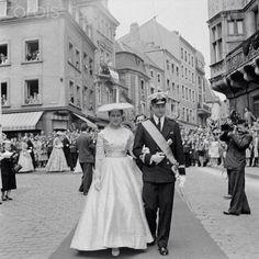 Prince Albert of Belgium with Princess Isabelle D'Orleans in 1956