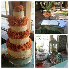 Tangerine and teal wedding decor.