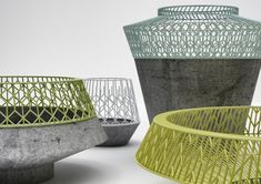 Concrete and wire containers by 3 Dots Collective