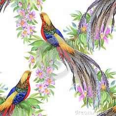 Wild Pheasant animals birds in watercolor floral seamless pattern
