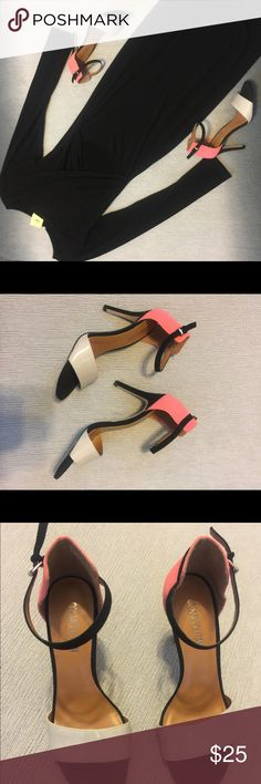 Black cream and peach heels Black cream and peach heels Shoes Heels