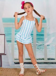 Mia Belle Girls Skirted Vertical Stripe One-Piece Swimsuit (Little Girls & Big Girls) Little Girl Models, Cute Little Girl Dresses, Beautiful Little Girls, Cute Girl Outfits, Cute Little Girls, Girls Dresses, Baby Girls, Preteen Girls Fashion, Young Girl Fashion