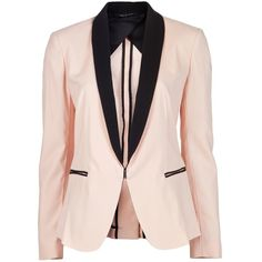 RAG & BONE Silver tuxedo jacket ($230) ❤ liked on Polyvore featuring outerwear, jackets, blazers, coats, outer, pink blazer jacket, blazer jacket, 1 button blazer, tuxedo jackets and silver tuxedo jacket