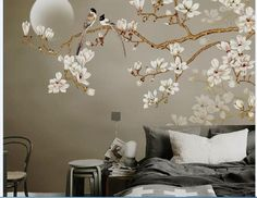 One Large Branch Tree White Flowers Wallpaper Wall Mural, Magnolia Floral Wallpaper, Flowers and Bir