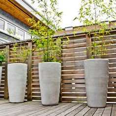 Horizontal wood fence with wood deck. Large planters can be used for additional screening.