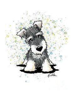 KiniArt Schnauzer by Kim Niles Schnauzer Puppy, Cute Animal Drawings, Fox Terrier, Cartoon Dog, Dog Paintings, Watercolor Animals, Dog Art, Cute Art, Cute Animals