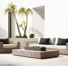 RHs Marbella Coffee Table:Low-slung and linear, with clean, right angles and boxed bases, Marbella is pure modernism. Built of enduring premium teak, the collection offers a timeless aesthetic. Adams Furniture, Porch Furniture, Plywood Furniture, Sofa Area Externa, Terrazas Chill Out, Teak, Outdoor Spaces, Outdoor Living, Terrace Design