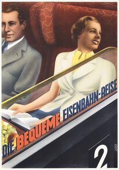 Beautiful Old Original 1930s German Rail Travel Poster