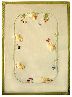 5 Little Ducks Applique & Embroidery kit (copyright Jan Kerton). Available at Australian Needle Arts. To view the full range please click on http://www.australianneedlearts.com.au/applique-blankets-jan-kerton?page=1