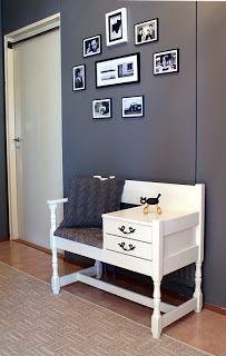 Tuunattu puhelinpenkki Entryway Bench, Furniture, Home Decor, Homemade Home Decor, Hall Bench, Home Furnishings, Decoration Home, Arredamento, Interior Decorating
