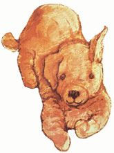 "Illustration of a small sandy brown dog  ""Dogger"" Shirley Hughes"
