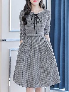 Stylewe Formal Dresses Long Sleeve Casual Dresses Daily A-Line Peter Pan Collar . - - Stylewe Formal Dresses Long Sleeve Casual Dresses Daily A-Line Peter Pan Collar . - Long Sleeve Dress Model D. Stylish Dresses, Simple Dresses, Elegant Dresses, Sexy Dresses, Dress Casual, Summer Dresses, Midi Dresses, Lace Dresses, Casual Outfits