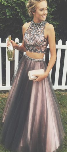 Two Pieces Prom Dresses,Beading Prom Gowns,2 Pieces Evening Dresses,Sexy Party Dresses,A Line Prom Dress, Prom Dress