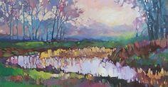 "SOLD       Misty Morning © 2013 by Karen Mathison Schmidt, artist   16 x 20 inches • oil on 3/4"" cradled Gessobord TM    private coll..."