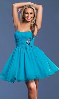 Ball Gown Organza Strapless Short Dress