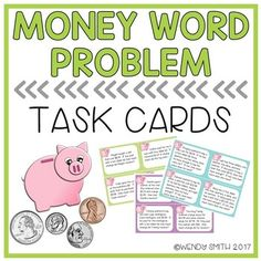 These task cards will help your kiddos deepen their understanding of money through solving word problems.  There are three levels of task cards, with 12 cards at each level, for a total of 36 task cards!  Set one includes single step problems where students calculate the change after an item was purchased for a given amount.