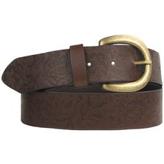 Belgo Lux Brown Faux Leather Floral Embossed Vegan Belt for Women