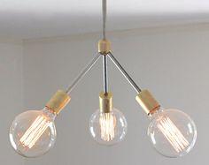 mid century modern chandelier // rustic modern brass and unpolished steel exposed edison light bulb lighting // ceiling lamp