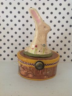 Folk art rabbit mixed media decorative box by MulfordCottage