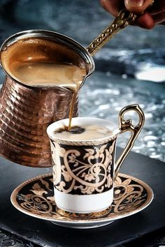 Its actually greek or Turkish coffee, very strong coffee but smooth. Had this when I went to tea/coffee reading . Was the best coffee I ever had so was the reading! I Love Coffee, Coffee Break, My Coffee, Morning Coffee, Coffee Aroma, Coffee Signs, Fresh Coffee, Expresso Coffee, Sweet Coffee