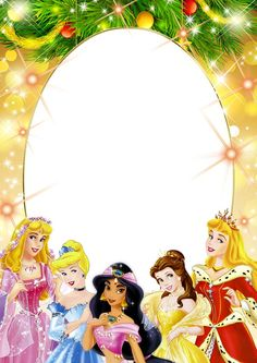 Transparent Kids PNG Frame with Christmas Princesses: