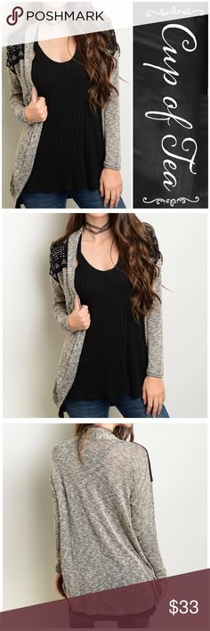 """RESTOCKED✨Studded shoulder open  cardigan BUNDLE AND SAVE WITH OVER 100 STYLES TO CHOOSE FROMOpen front cardigan. Brown/black. Studded shoulder detail. Made in USA . 45% rayon 52% polyester 3% spandex. XSMALL: bust 34"""" length 28"""" SMALL: bust 36"""" length 29"""" MEDIUM: bust 38"""" length 30"""" LARGE: bust 40"""" length 31"""" XLARGE: bust 42"""" length 32"""". CupofTea Sweaters Cardigans"""