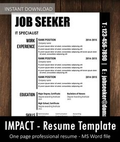 Cv template word - Impact One page professional Resume Template CV with formal format and creative design in Word file – Cv template word Microsoft Word Resume Template, One Page Resume Template, Cv Design Template, Microsoft Excel, Resume Template Australia, Best Resume Format, Curriculum Vitae Template, Infographic Resume, Professional Resume