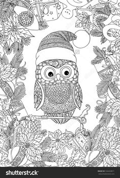 stock-vector-coloring-book-for-adult-and-older-children-coloring-page-with-cute-owl-in-santa-claus-cap-and-334420871.jpg (1080×1600)