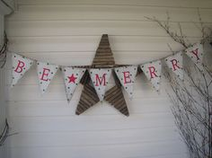 BE MERRY Burlap Christmas Banner Holiday Banner by funkyshique, $28.00