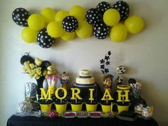 Honey Bee Birthday Party by Mary Brew-Todd_____    CAKE AND CANDY TABLE    ____cake made by Jantz Bakery